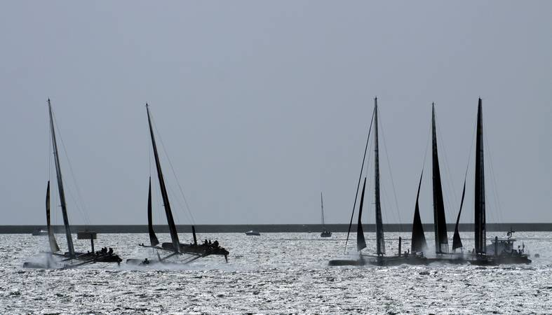 America's Cup World Series - Start of race 2 - Plymouth Sound - © Ian Foster / fozimage