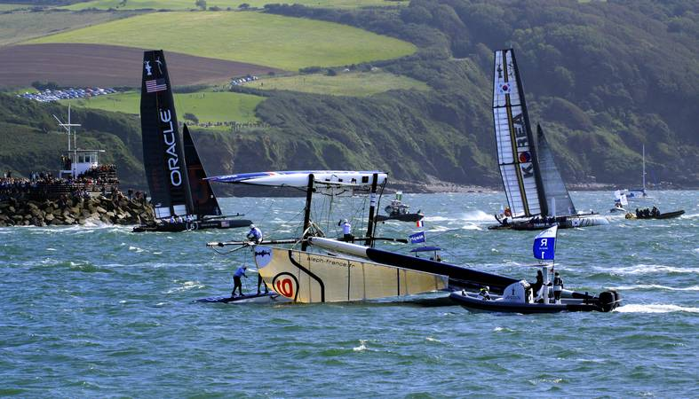 America's Cup World Series - Aleph capsize - Plymouth Sound - © Ian Foster / fozimage