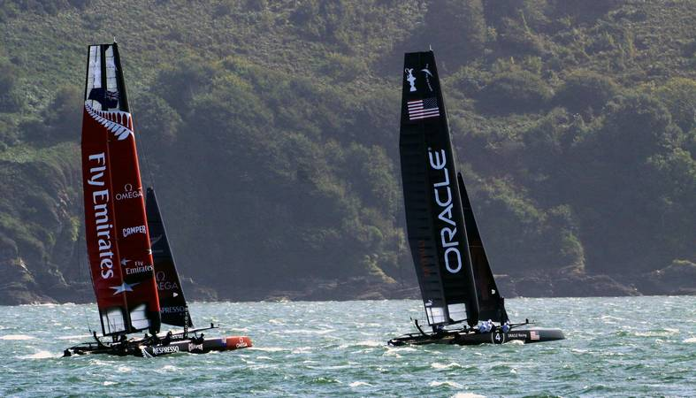 America's Cup World Series - Oracle Racing Spithill is in the lead from Emirates Team New Zealand - Plymouth Sound - © Ian Foster / fozimage